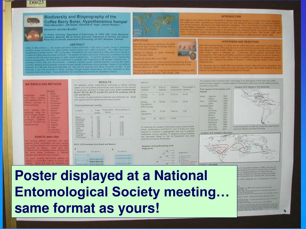 Poster displayed at a National Entomological Society meeting…        same format as yours!