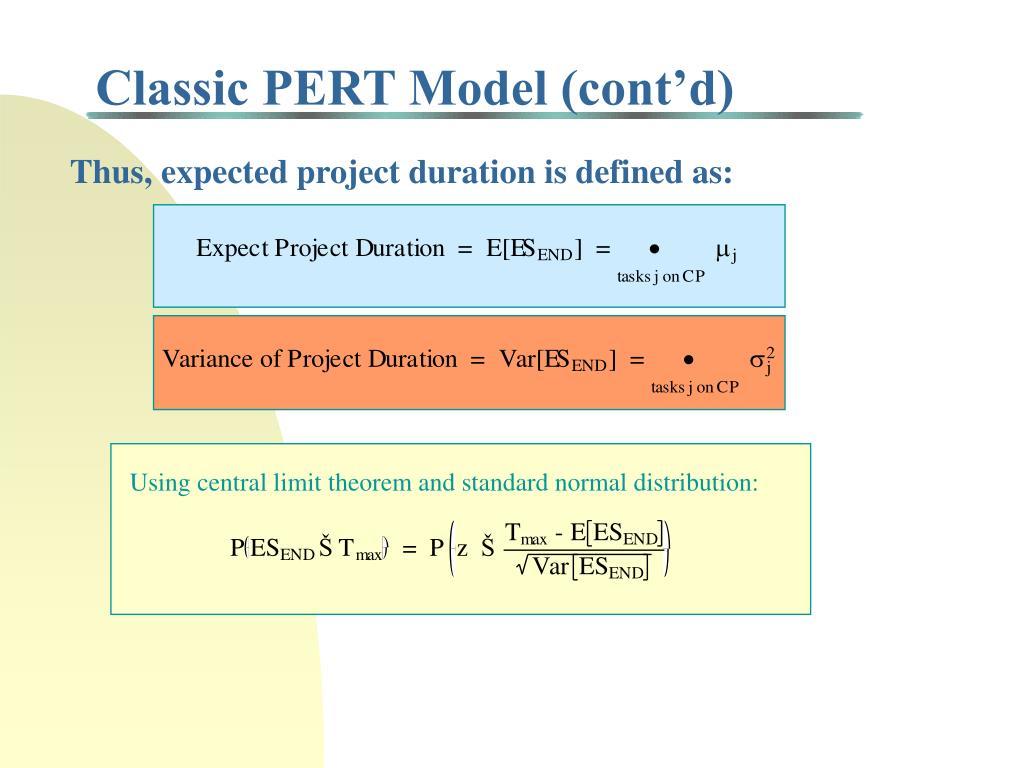 Classic PERT Model (cont'd)