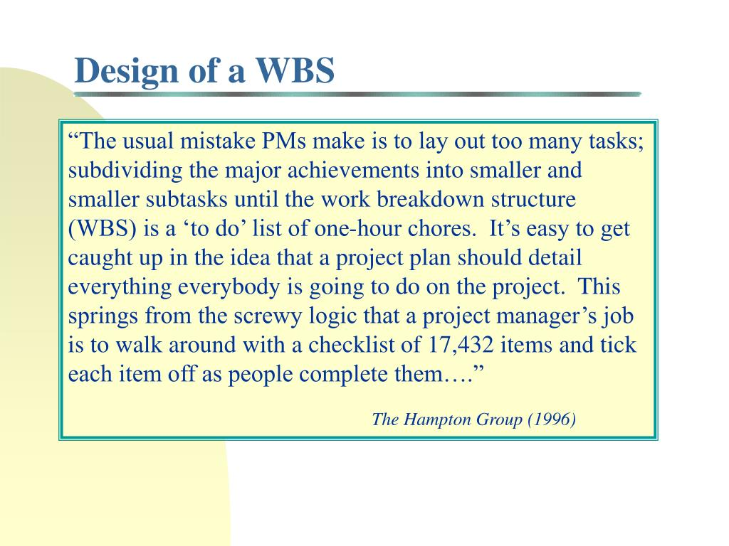 Design of a WBS