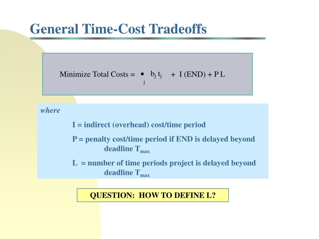 General Time-Cost Tradeoffs