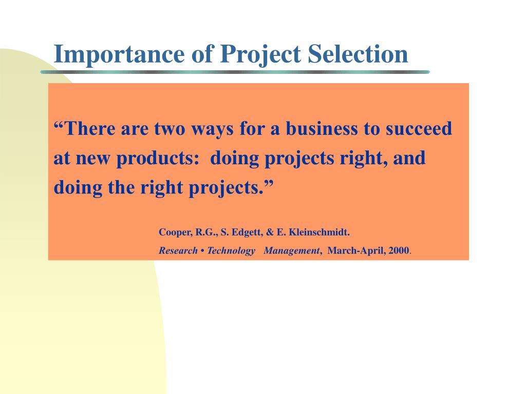 Importance of Project Selection