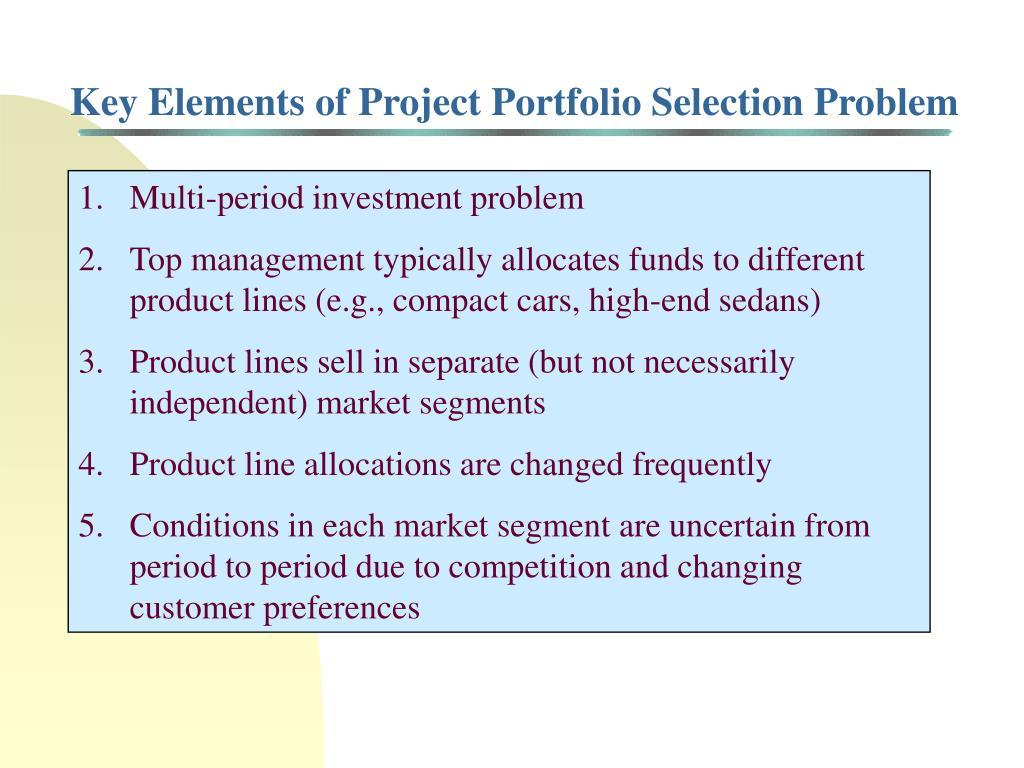 Key Elements of Project Portfolio Selection Problem