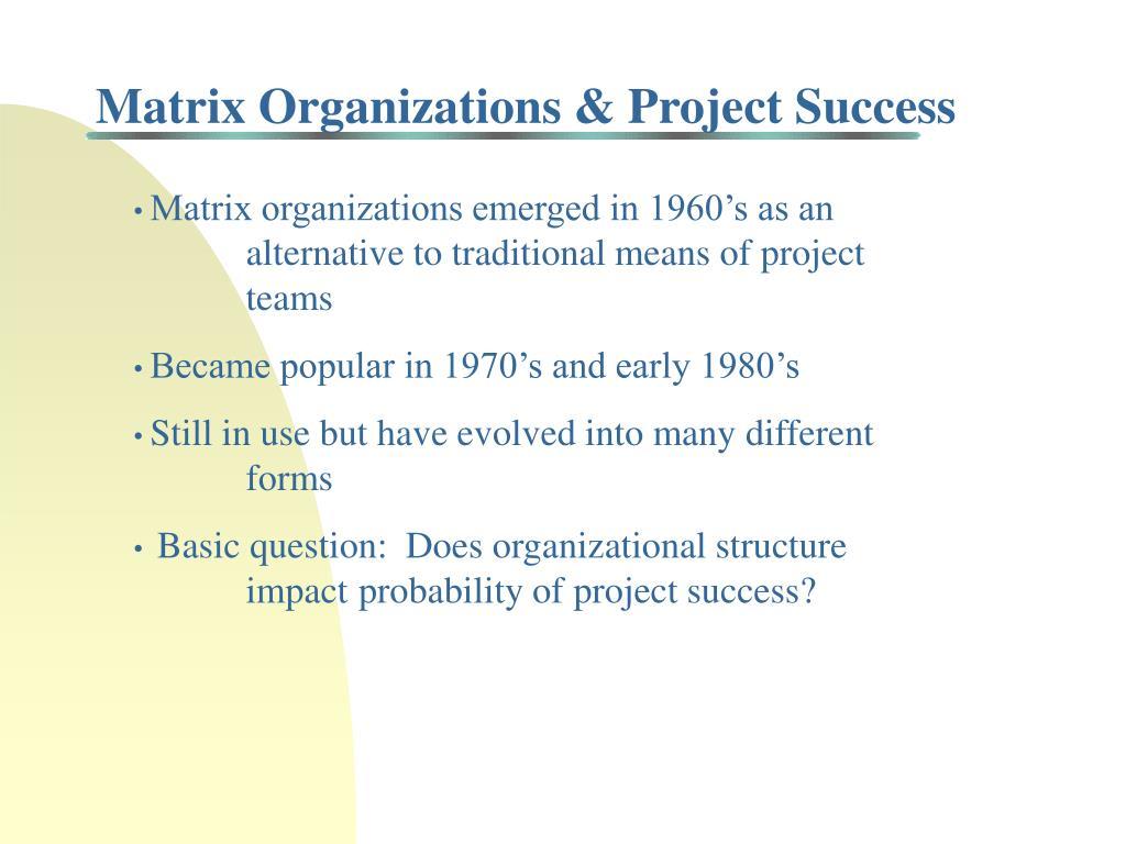 Matrix Organizations & Project Success
