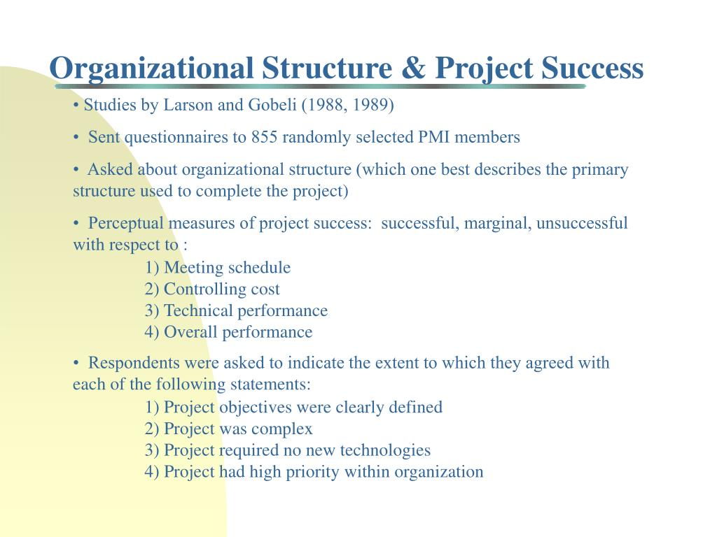 Organizational Structure & Project Success