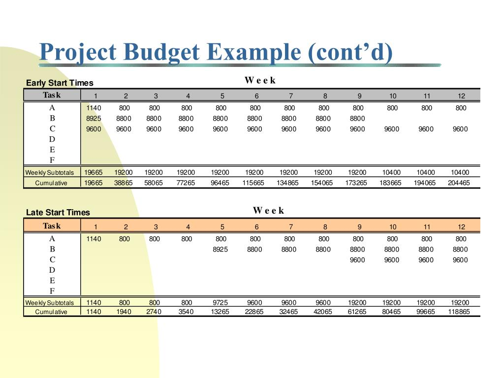 Project Budget Example (cont'd)