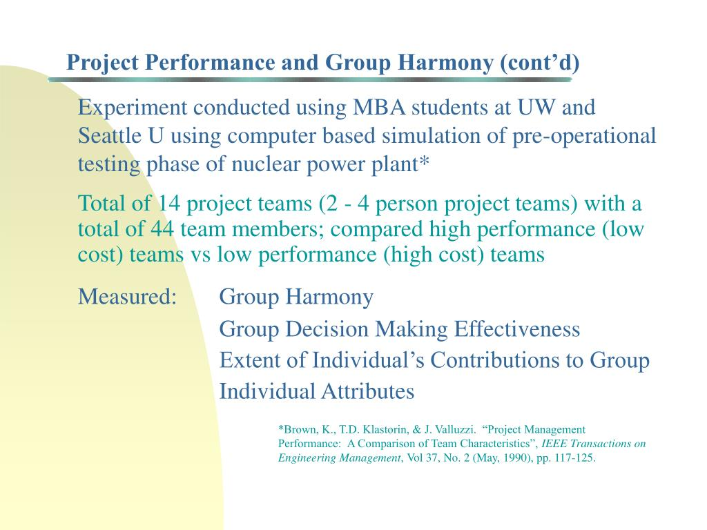 Project Performance and Group Harmony (cont'd)