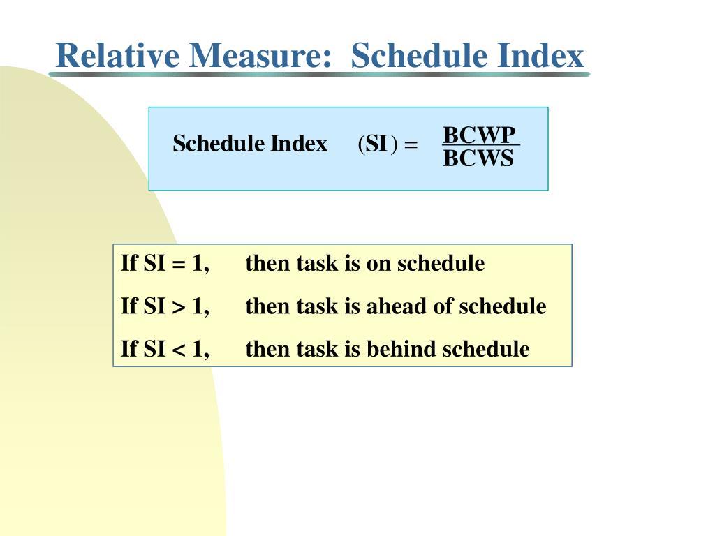 Relative Measure:  Schedule Index