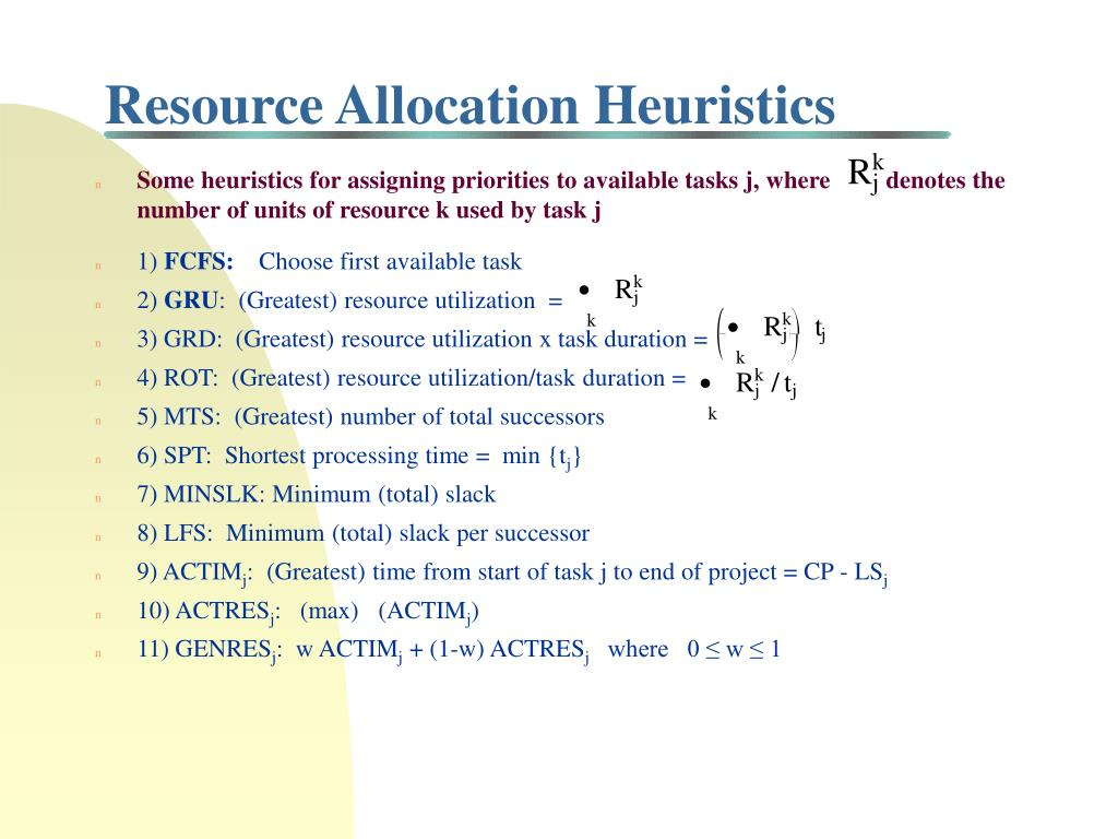 Some heuristics for assigning priorities to available tasks j, where         denotes the number of units of resource k used by task j