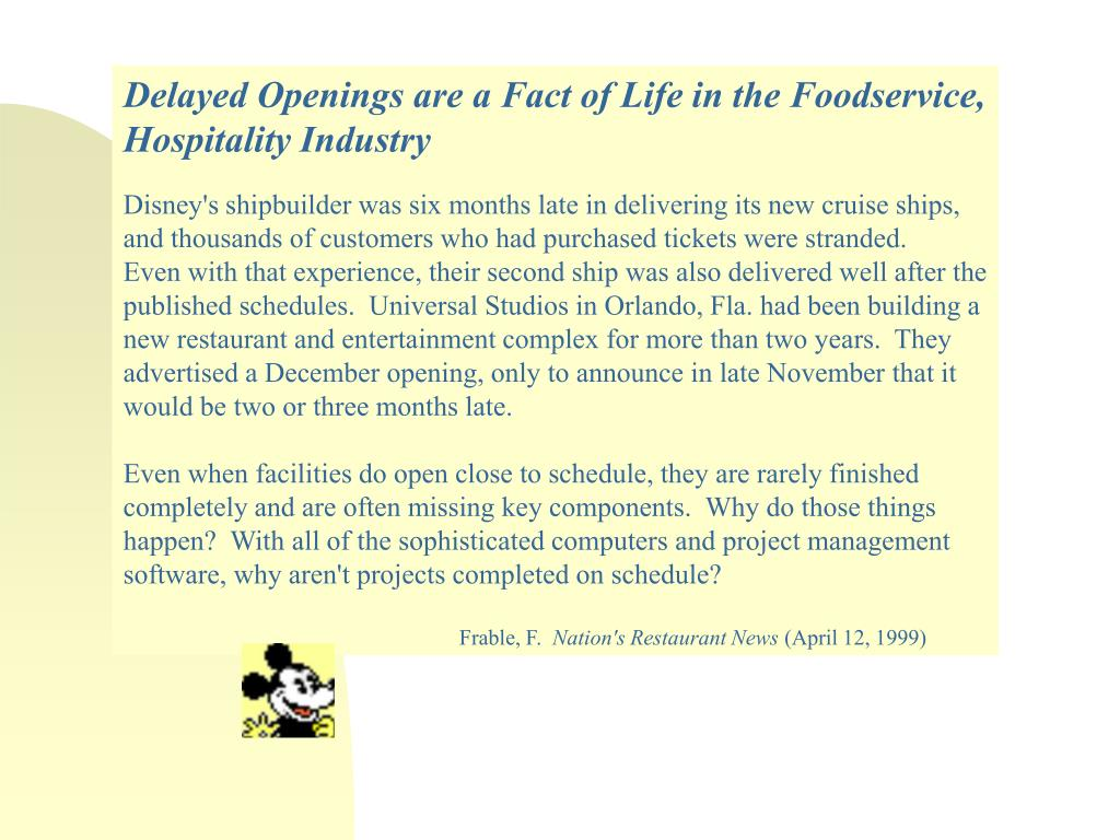 Delayed Openings are a Fact of Life in the Foodservice, Hospitality Industry