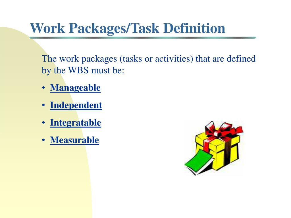 Work Packages/Task Definition