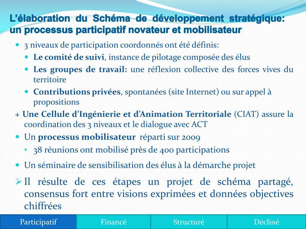 Llaboration du Schma de dveloppement stratgique: un processus participatif novateur et mobilisateur