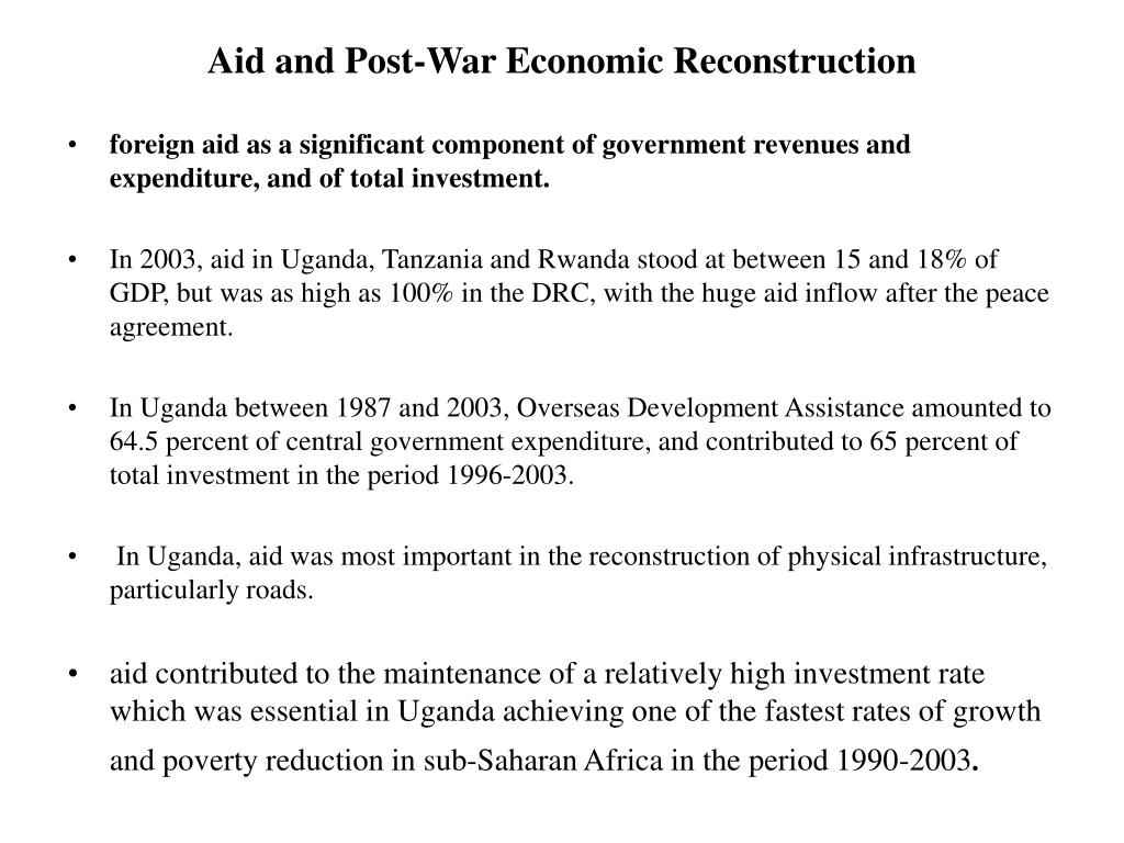 Aid and Post-War Economic Reconstruction