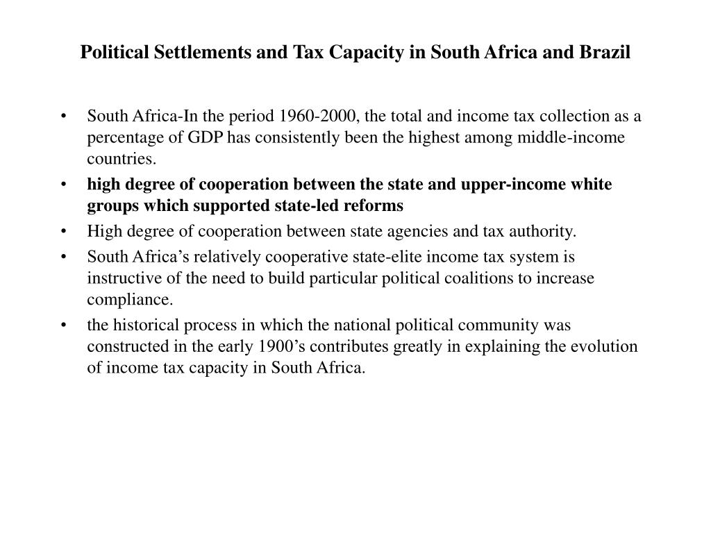 Political Settlements and Tax Capacity in South Africa and Brazil
