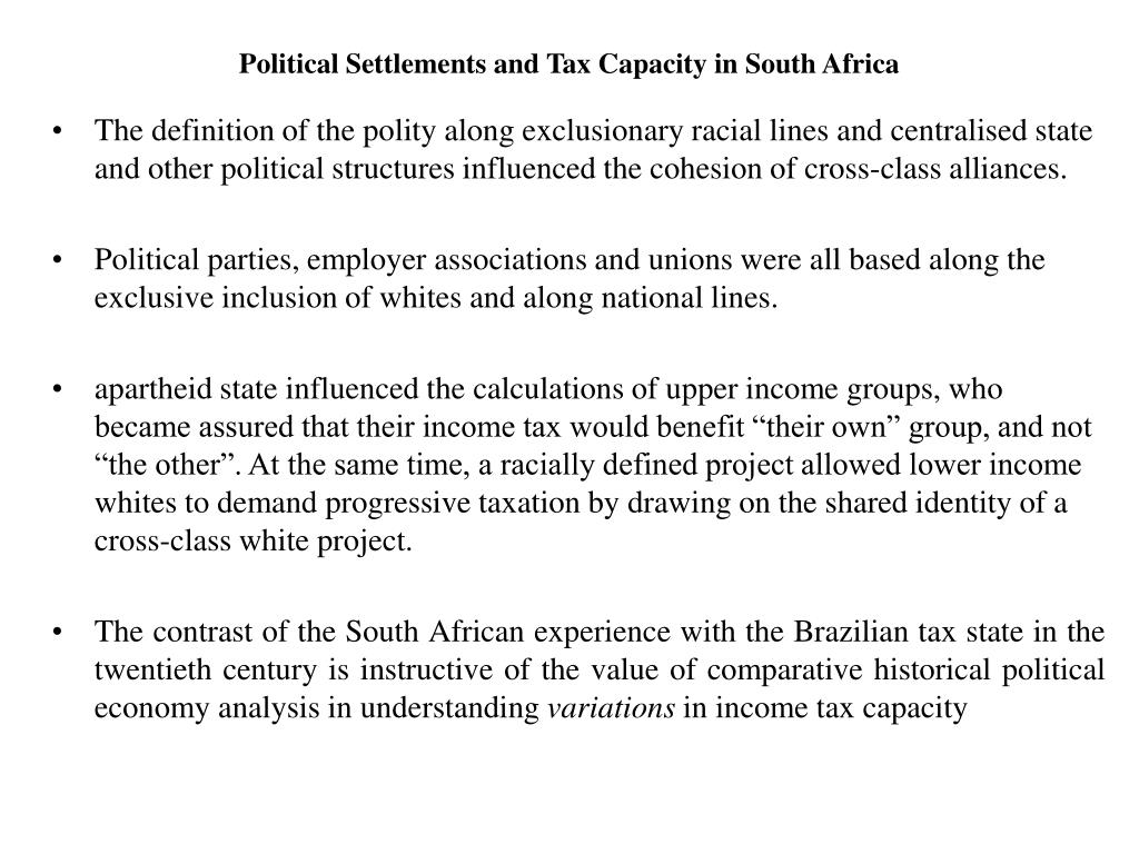Political Settlements and Tax Capacity in South Africa