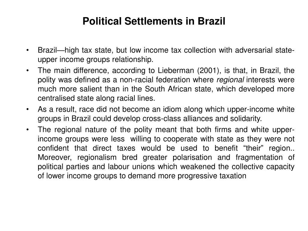 Political Settlements in Brazil