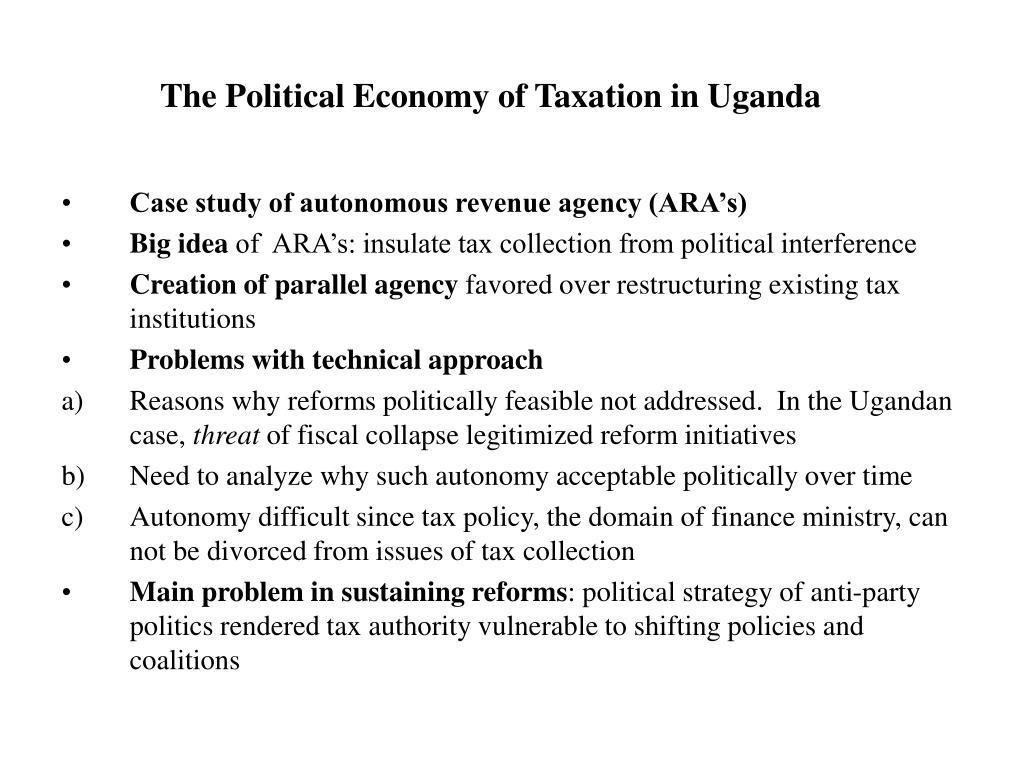 The Political Economy of Taxation in Uganda