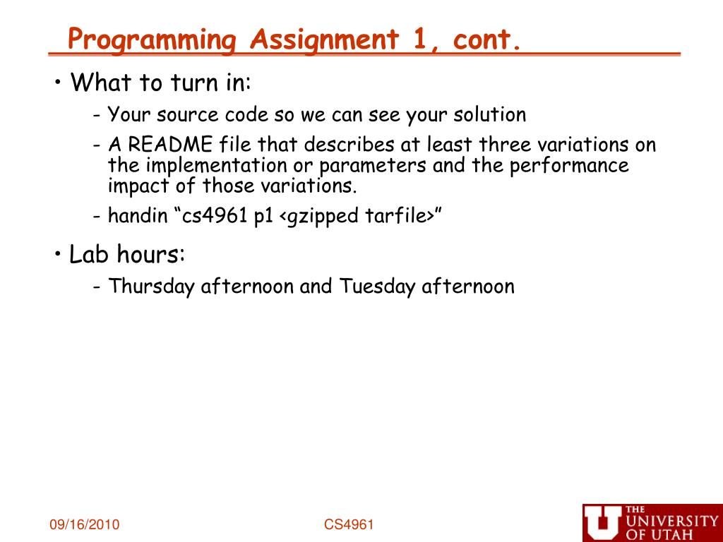 Programming Assignment 1, cont.