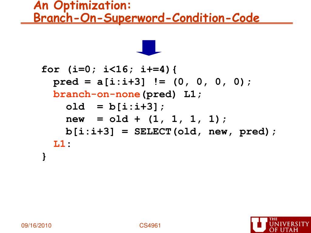 An Optimization: