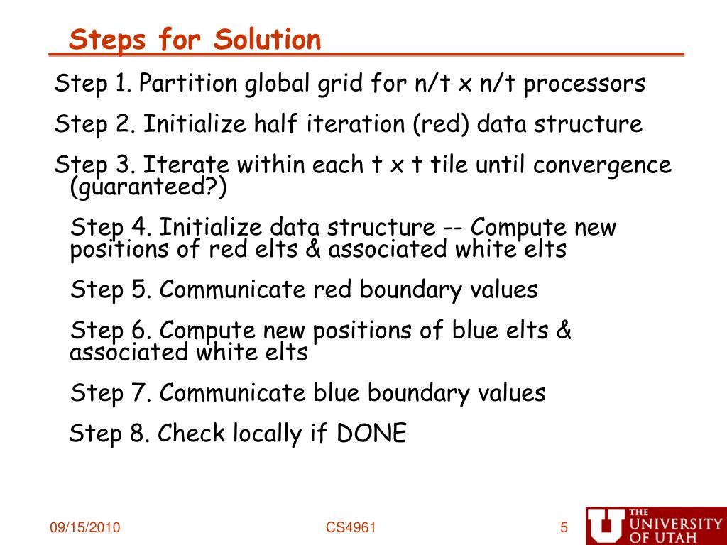 Steps for Solution