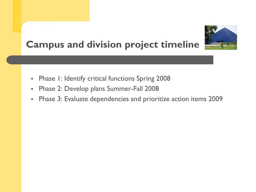 Campus and division project timeline