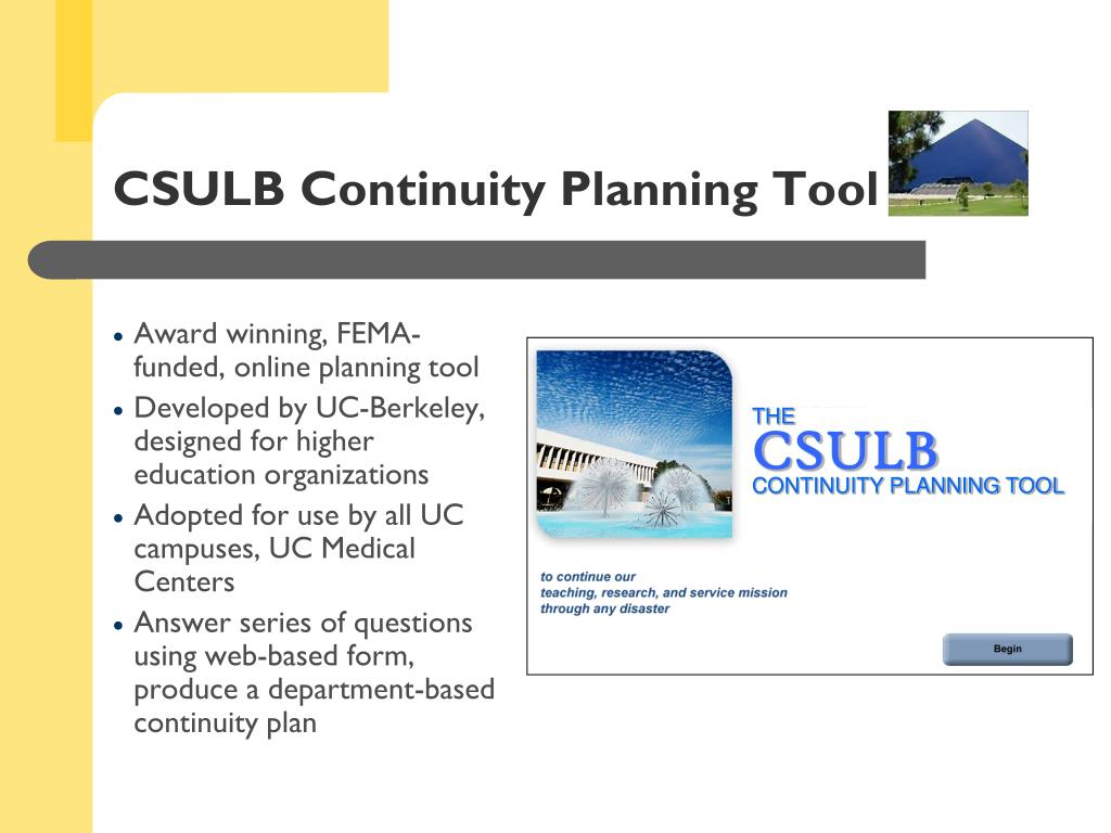 CSULB Continuity Planning Tool