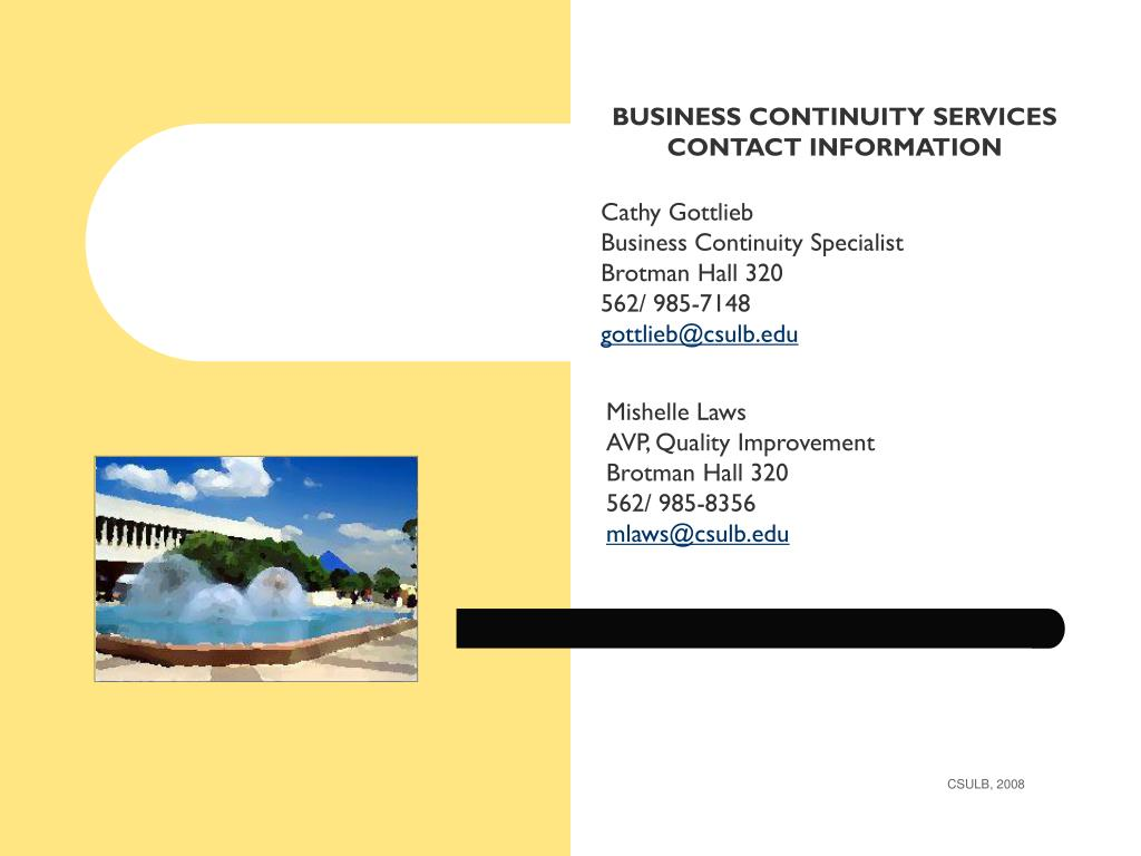 BUSINESS CONTINUITY SERVICES CONTACT INFORMATION