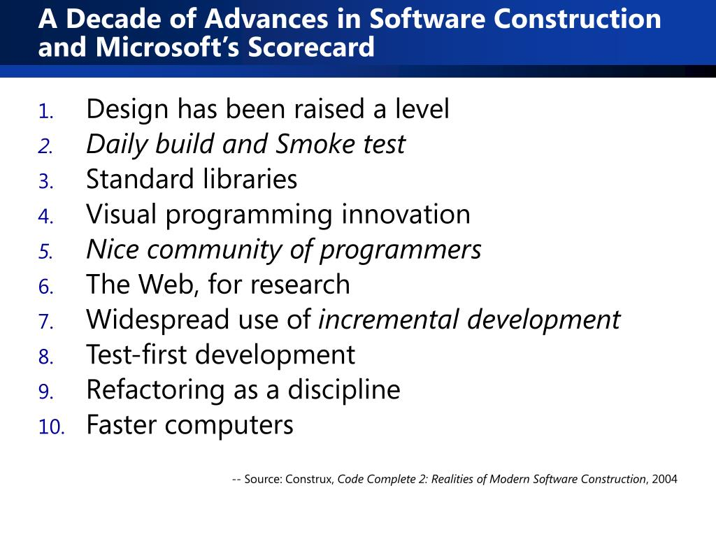 A Decade of Advances in Software Construction