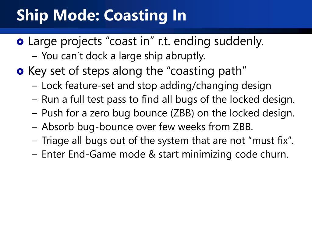 Ship Mode: Coasting In