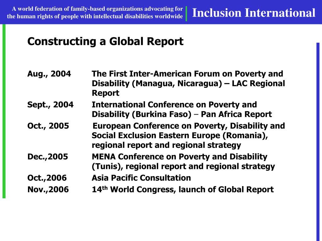 Constructing a Global Report
