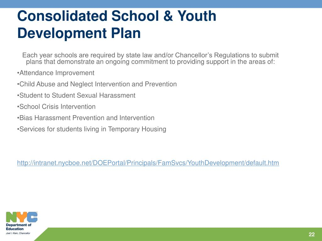 Consolidated School & Youth Development Plan