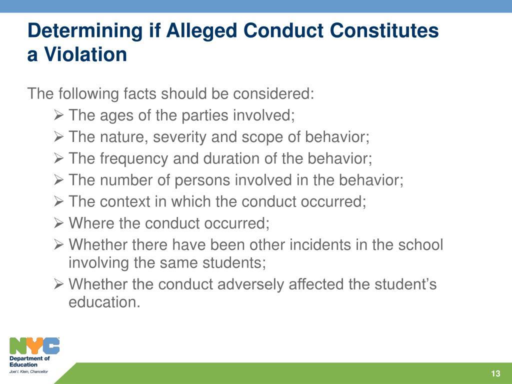 Determining if Alleged Conduct Constitutes a Violation