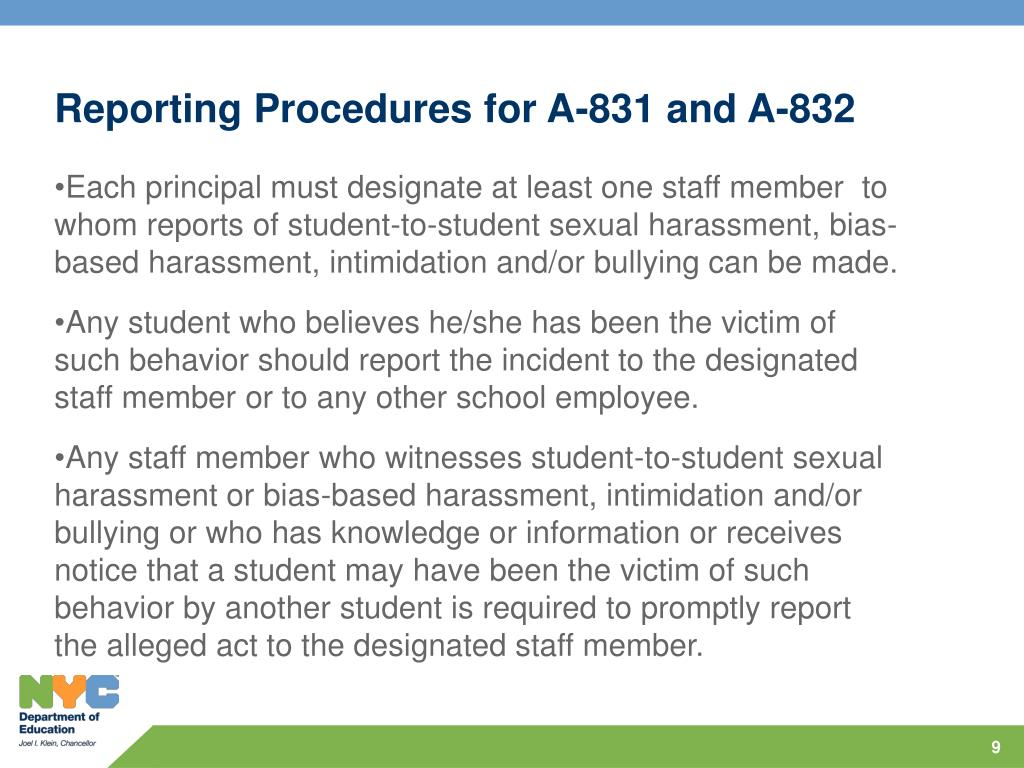 Reporting Procedures for A-831 and A-832