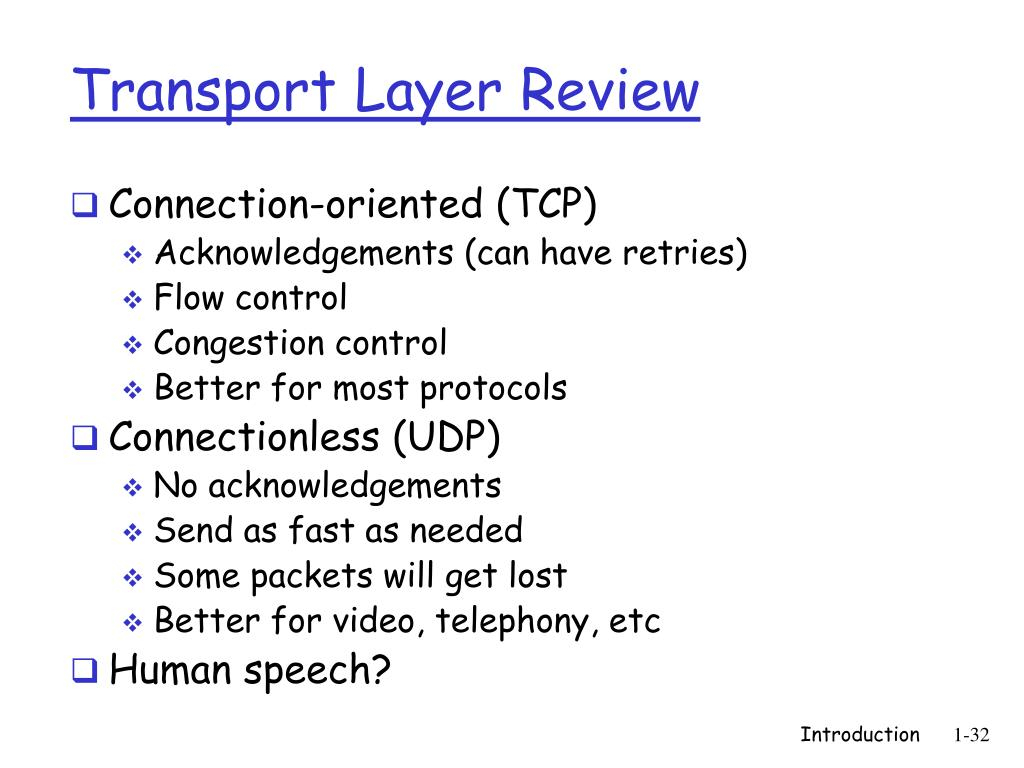 Transport Layer Review