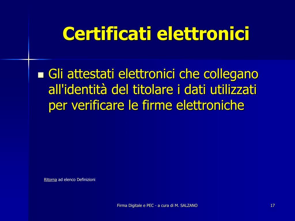 Certificati elettronici