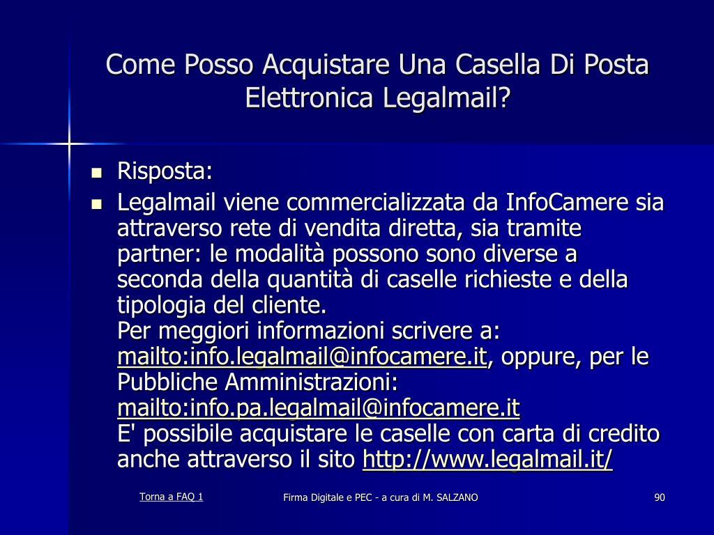 Come Posso Acquistare Una Casella Di Posta Elettronica Legalmail?