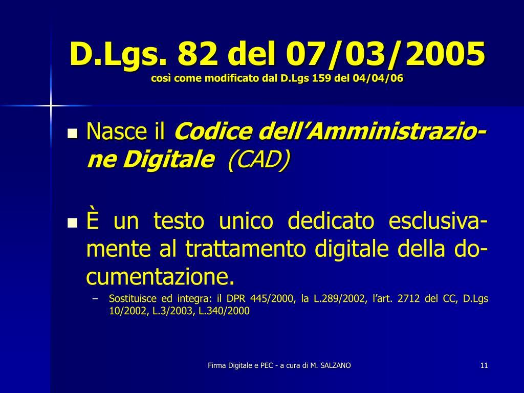 D.Lgs. 82 del 07/03/2005