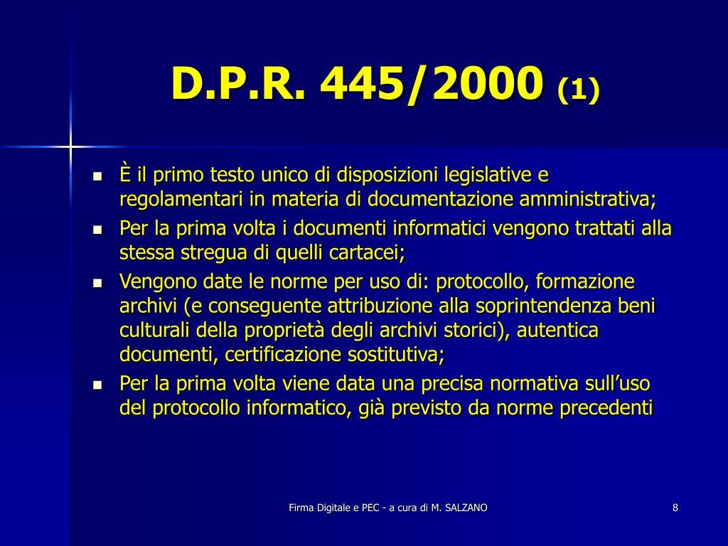 D.P.R. 445/2000