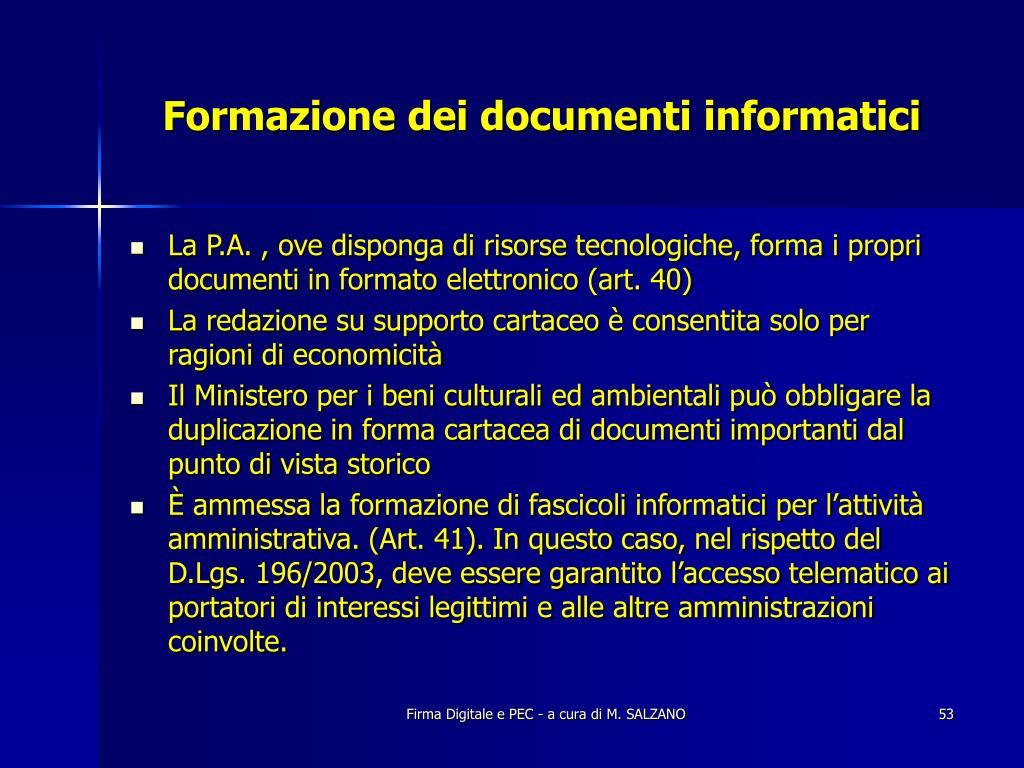 Formazione dei documenti informatici
