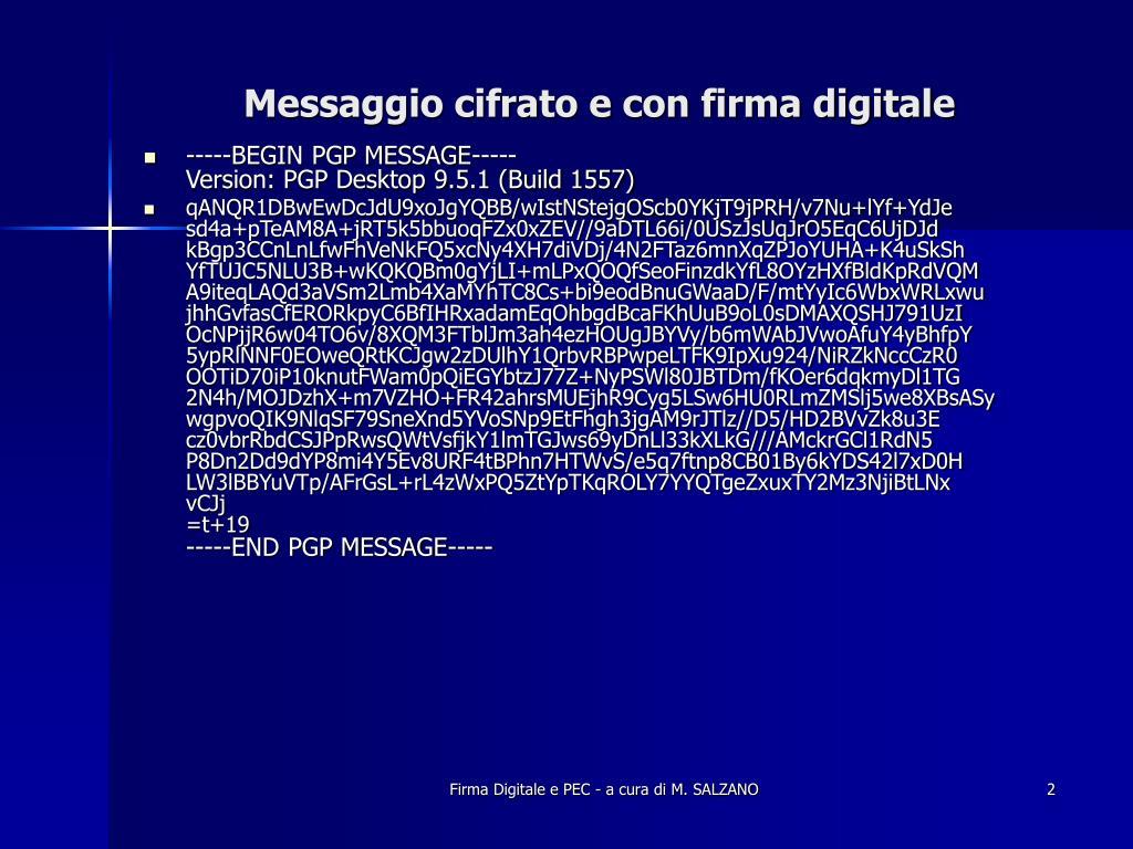 Messaggio cifrato e con firma digitale
