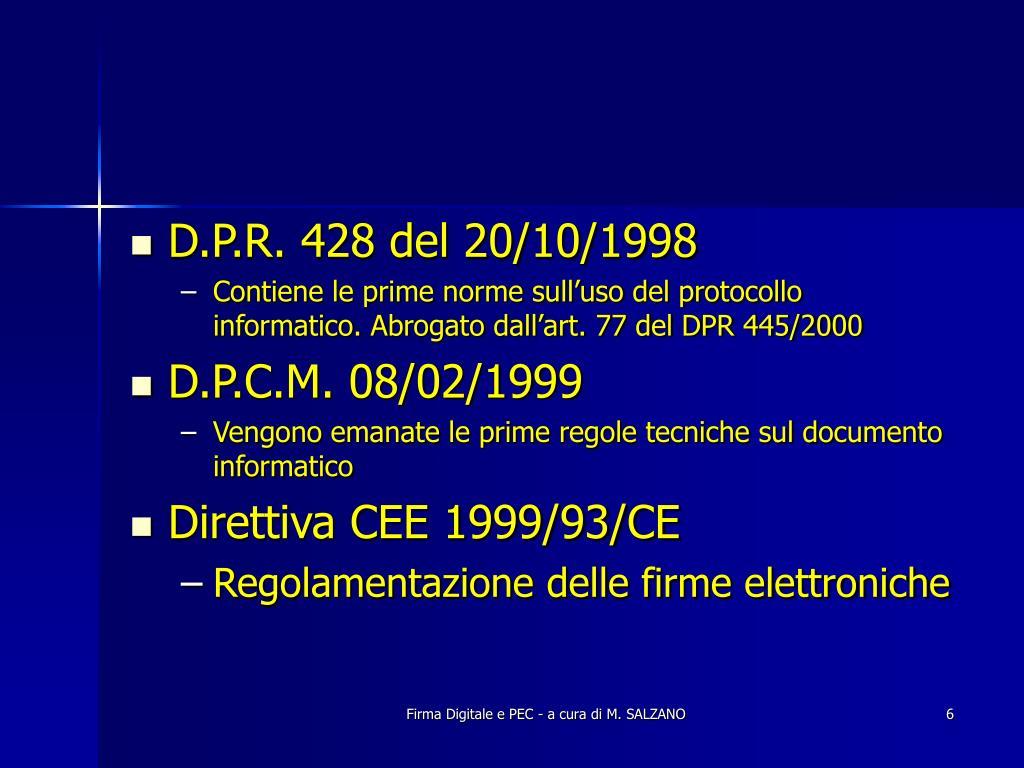 D.P.R. 428 del 20/10/1998