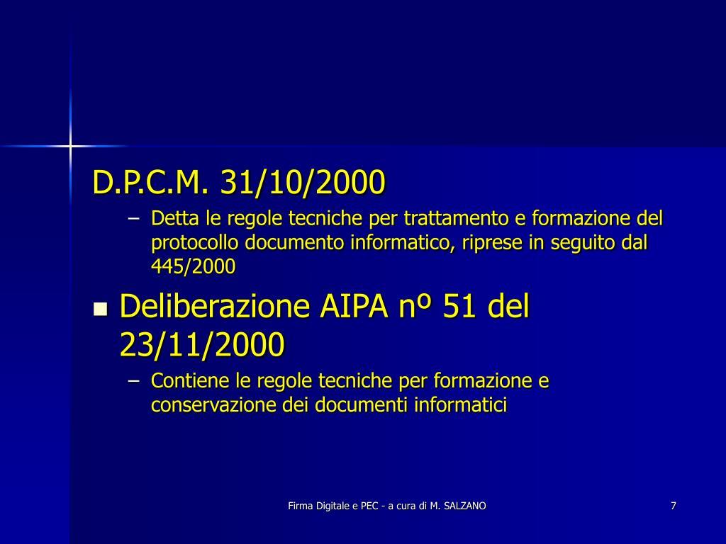 D.P.C.M. 31/10/2000