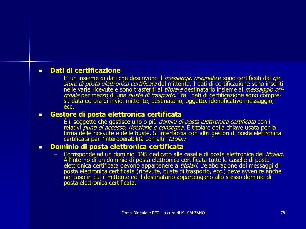 Dati di certificazione