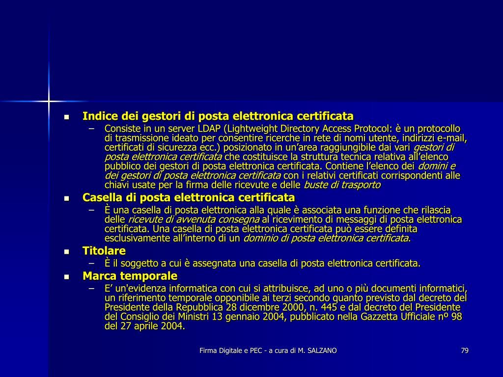 Indice dei gestori di posta elettronica certificata