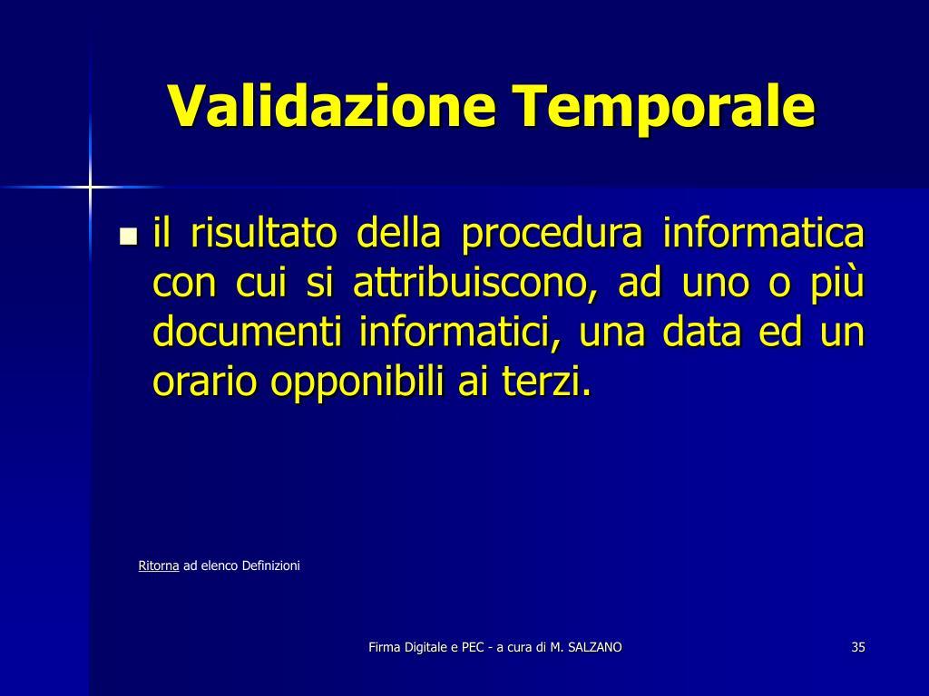 Validazione Temporale