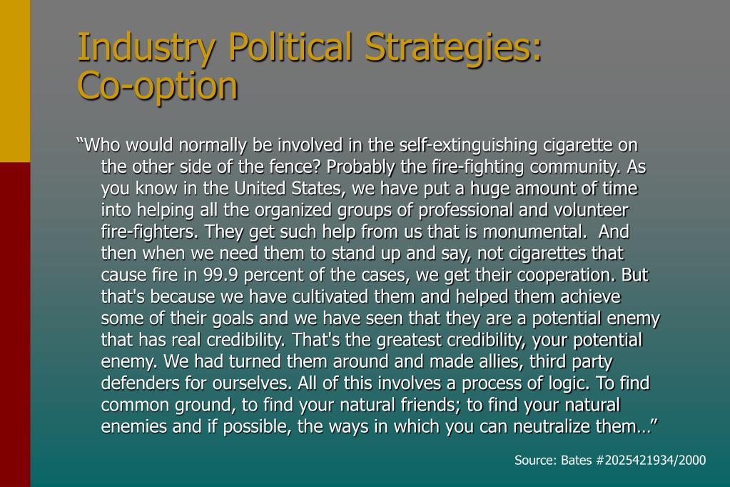 Industry Political Strategies: