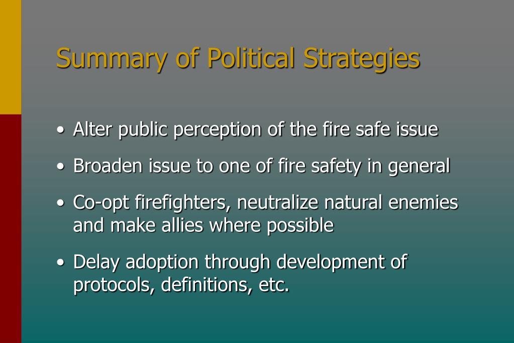 Summary of Political Strategies