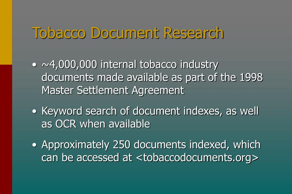 Tobacco Document Research