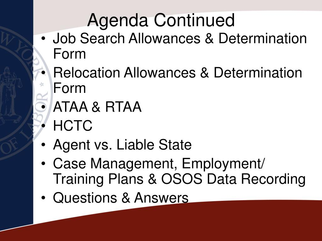 Agenda Continued