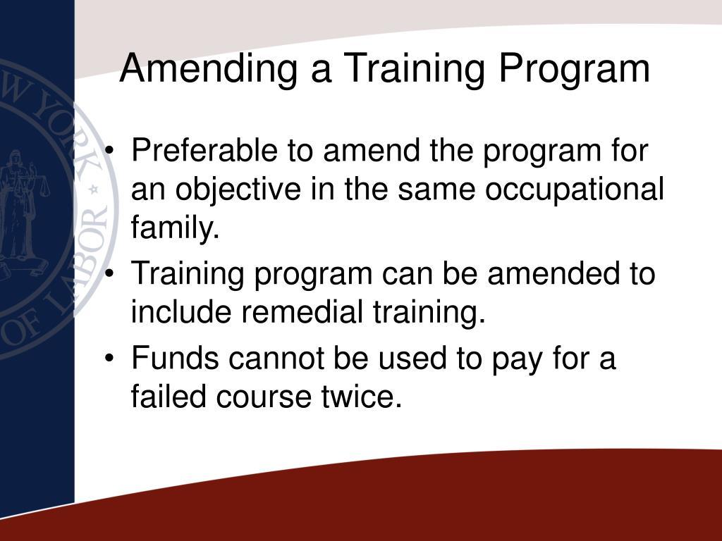 Amending a Training Program