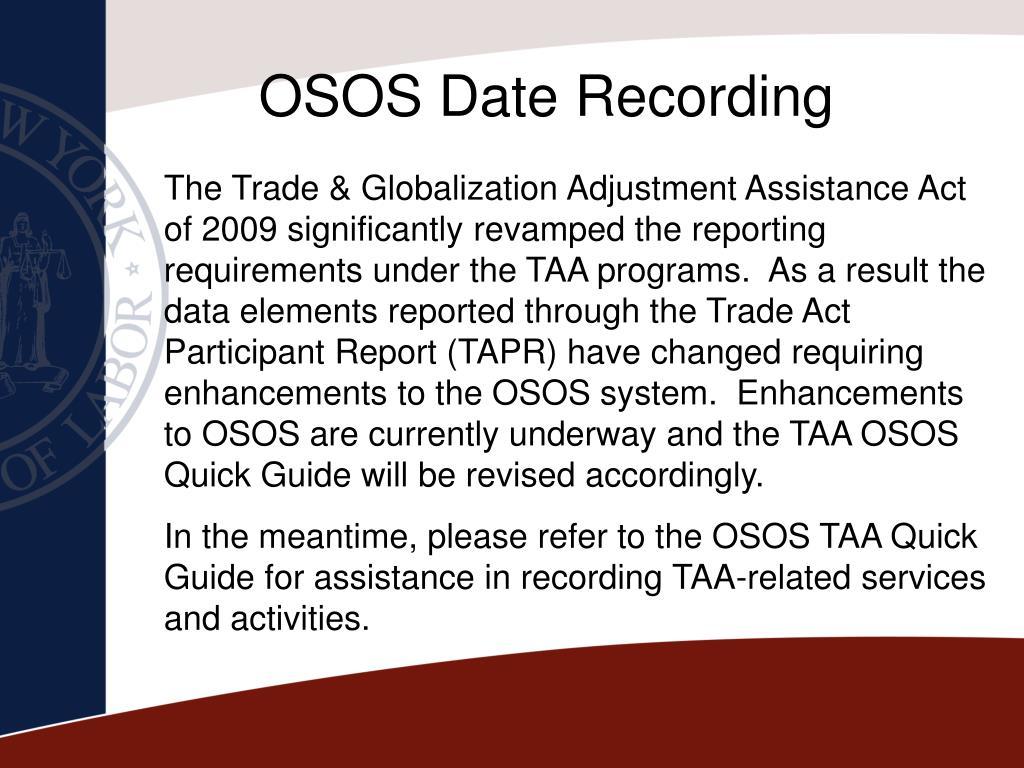 OSOS Date Recording